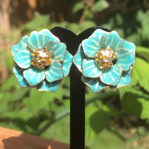 Coldwater Creek Blue Clip On Earrings nwot